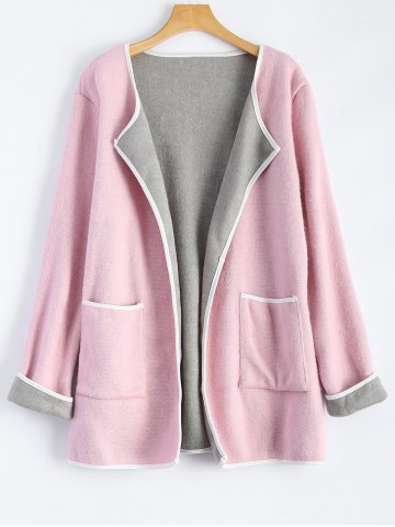 Discount Stereo Patchwork Plus Size Cardigan With Pockets