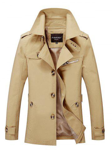 Latest Notched Collar Epaulet Wind Coat