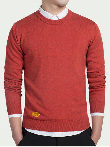 Discount Label Embellished Round Neck Long Sleeve Sweater RED L
