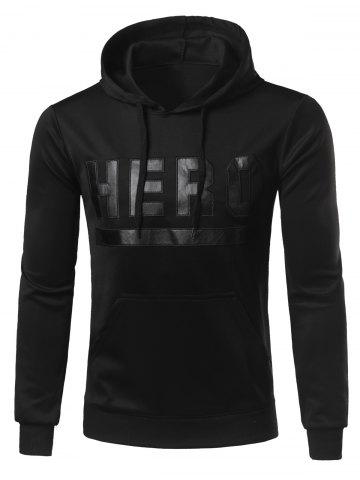Shop Hooded Stand Collar Letters Hero Print Hoodie BLACK 2XL