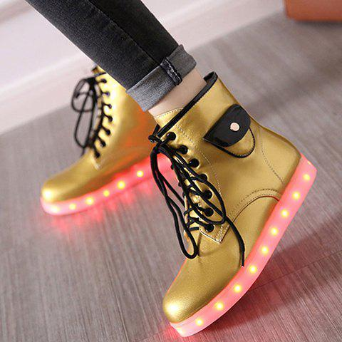 Lights Up Led Luminous Ankle Boots - Golden - 38