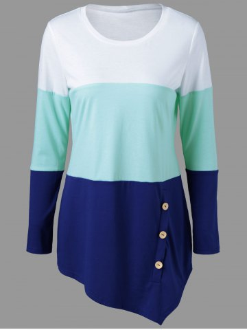 Button Embellished Asymmetrical T-Shirt - White + Blue + Green - L