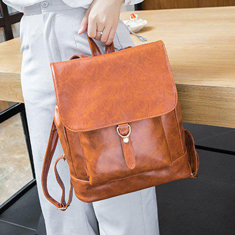 Fashion Metal Magnetic Closure PU Leather Backpack - BROWN  Mobile
