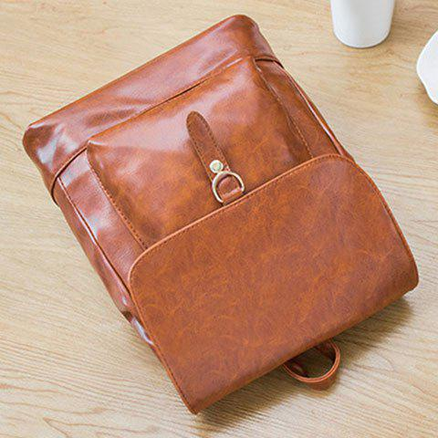 Shops Metal Magnetic Closure PU Leather Backpack - BROWN  Mobile