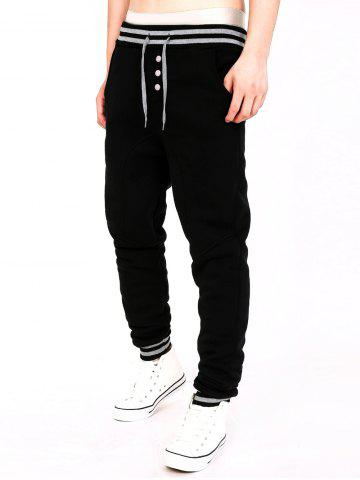 Two Tone Drawstring Cotton Jogger Pants - Black - M