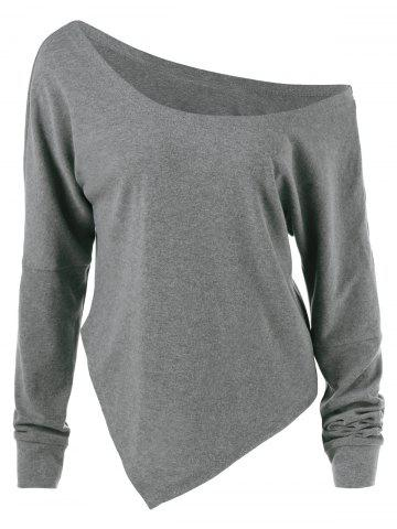 Affordable Skew Collar Drop Shoulder Asymmetrical Pullover GRAY M