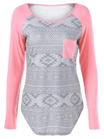 Sale Raglan Sleeve Tribal Pattern T-Shirt