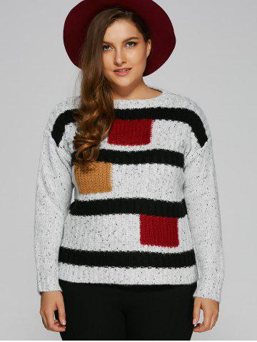 Best Jewel Neck Plus Size Color Block Sweater WHITE ONE SIZE