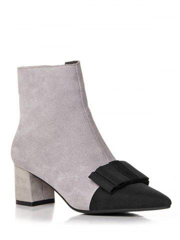 Shops Bowknot Chunky Heel Pointed Toe Boots GRAY 38