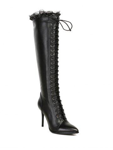 Cheap Lace-Up Pointed Toe Stiletto Heel Knee-High Boots