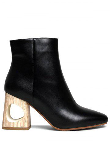 Discount Square Toe Chunky Heel Leather Boots