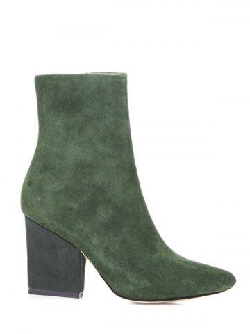 Cheap Side Zip Chunky Heel Pointed Toe Ankle Boots