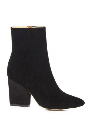 Latest Side Zip Chunky Heel Pointed Toe Ankle Boots