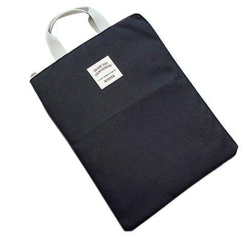 Unique Zip Rectangle Shape Nylon Tote Bag BLACK