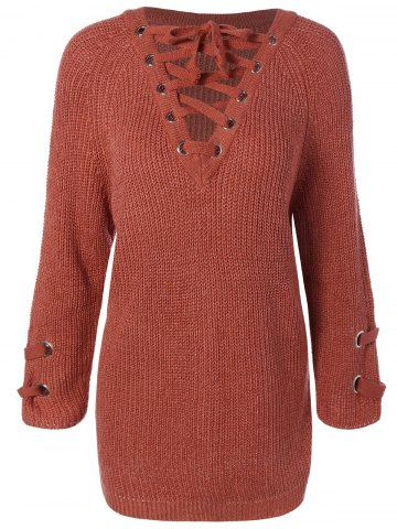 Buy Lace-Up Loose Sweater BRICK-RED ONE SIZE