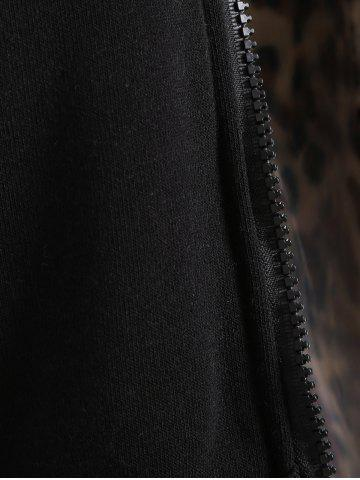 Shops Thick Leopard Printed Inside Hoodie - BLACK 2XL Mobile