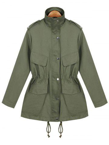 Shop String Loose Utility Coat ARMY GREEN ONE SIZE
