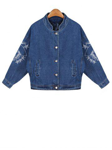 Sale Embroidered Buttoned Denim Jacket