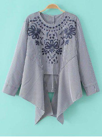 Affordable Striped Embroidered Asymmetric Blouse