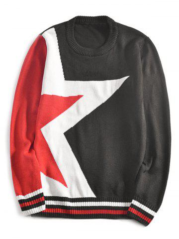 Shops Star Pattern Stripe-Hem Crew Neck Sweater