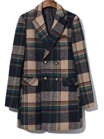 Chic Double Breasted Lapel Plaid Wool Blend Coat