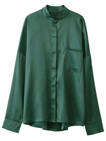 Unique Stand Neck Satin Boyfriend Shirt GREEN S