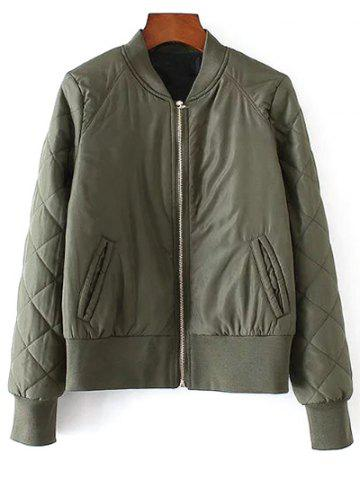 Latest Stand Neck Argyle Padded Jacket ARMY GREEN M
