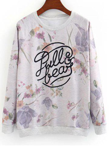 Trendy Letter and Floral Loose Sweatshirt