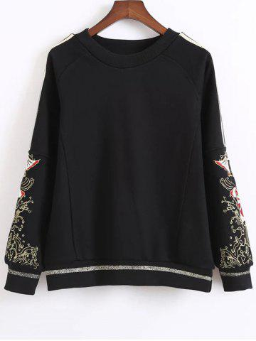 Outfits Embroidered Loose Sweatshirt BLACK M