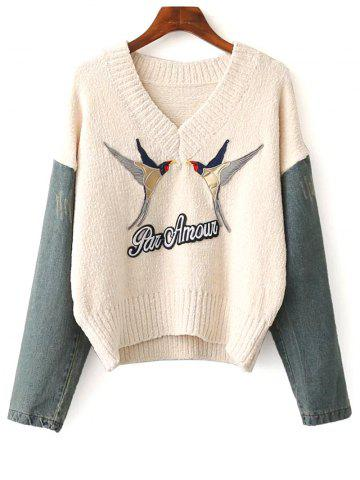 Affordable Denim Spliced Embroidery Sweater