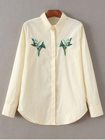 Trendy Embroidered Fitting Shirt OFF WHITE L
