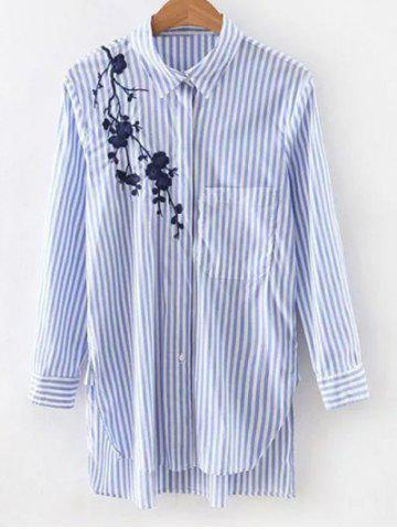 Unique High-Low Embroidered Striped Shirt