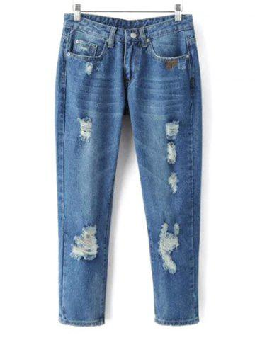 Chic Bleach Wash Ripped Tapered Jeans