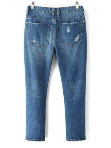 Latest Bleach Wash Ripped Tapered Jeans - L DENIM BLUE Mobile