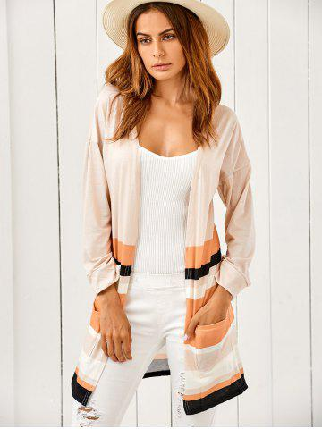 Outfits Pockets Color Block Cardigan