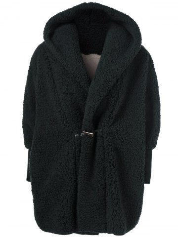 Hot One Button Fuzzy Hooded Coat