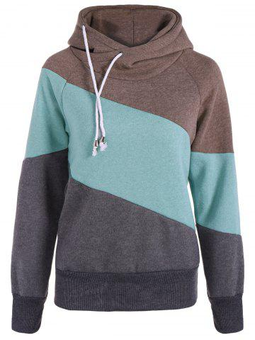 New Casual Color Block Long Sleeves Hoodie For Women - M GRAY Mobile