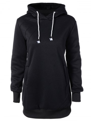 Buy Hooded Long Sleeve Drawstring Hoodie Dress BLACK 2XL