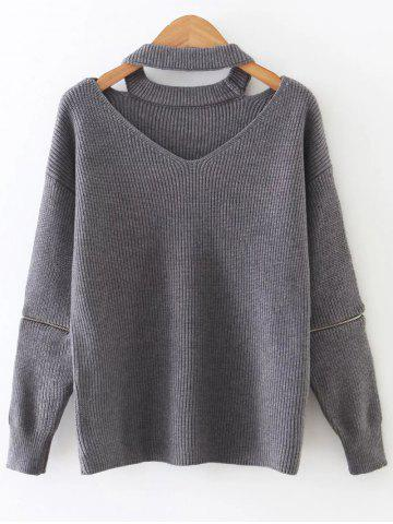 Buy Zipper Sleeve Cut Out Choker Knitwear GRAY ONE SIZE