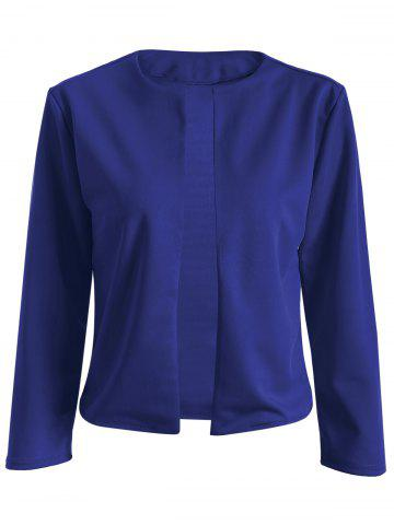 Fashion Collarless Slim  Fit Short Jacket SAPPHIRE BLUE M