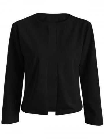 Trendy Collarless Slim  Fit Short Jacket BLACK 2XL