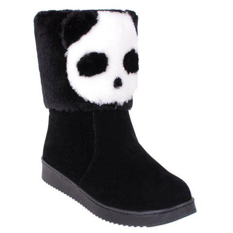 Shops Color Block Panda Pattern Flock Snow Boots BLACK 39