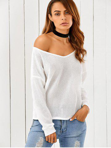 One-Shoulder Loose Sweater - White - L