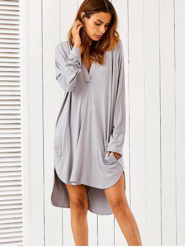 Trendy Plunging Neck High Low Dress