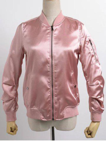 Trendy Stand Neck Satin Thin Fall Bomber Jacket PINK S