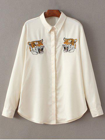 Shops Tiger Embroidered Fitting Shirt OFF WHITE L