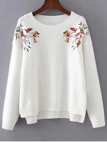 Trendy High-Low Embroidered Sweater