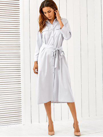Button Up Long Sleeve Shirt Dress with Belt - Light Gray - Xl