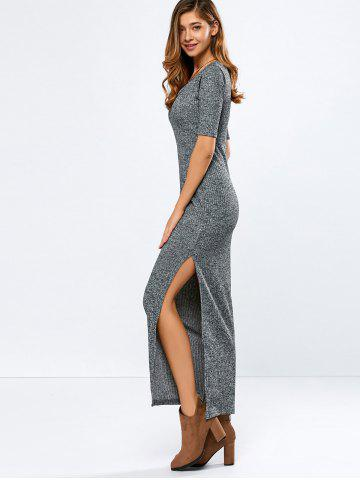 Elbow Sleeve Ribbed Sweater Maxi Dress - Gray - S