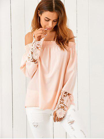 Latest Off The Shoulder Lace Spliced Loose Blouse NUDE PINK XL